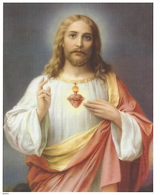 "Catholic Print Picture SACRED HEART of JESUS 8x10"" ready to be framed"