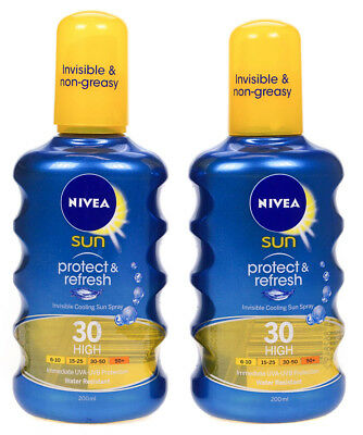 2 X Nivea Sun Protect & Refresh SPF30 Invisible Cooling Spray 200ml Each Tanning