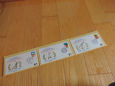 ST VINCENT BASEBALL FDC SET HALL OF FAME LEGENDS,Babe Ruth,Lou Gehrig,Ty Cobb