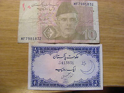 2 x Pakistan Banknotes -  Used includes a Blue 1 Rupee Note