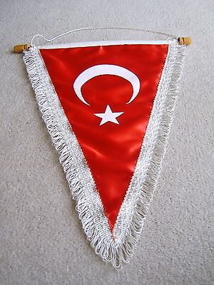Large Turkey National flag pennat with crossbar & hanging cord