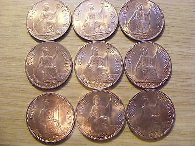 A Collection of 9 Uncirculated 1967 One Penny Coins