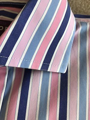 """Crisp Pink Blue & White Striped Double Cuff Shirt By Sartorial M&S Size Uk 15"""""""