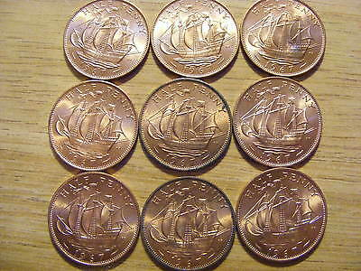 A Collection of 9 Uncirculated 1967 Half Penny Coins