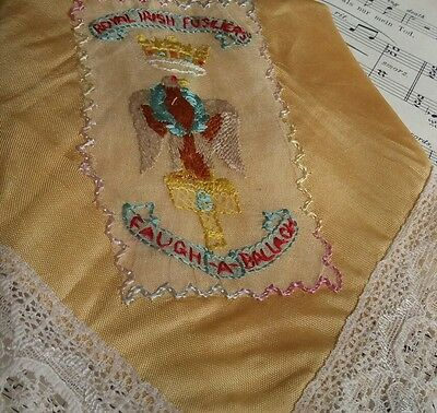 WW1 rare silk embroidered hankie stunning lace work The Royal Irish Lancers