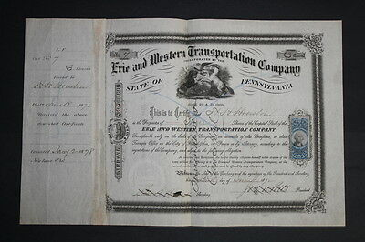 Erie and Western Transportation Company 1872 Capital Stock Certificate