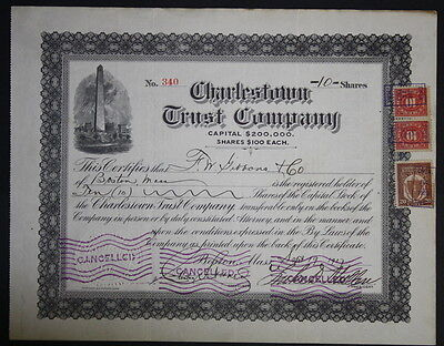 Charlestown Trust Company 1917 Capital Stock Certificate
