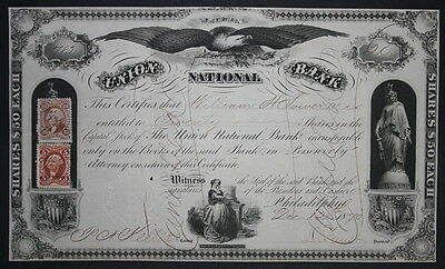 Union National Bank 1870 Capital Stock Certificate