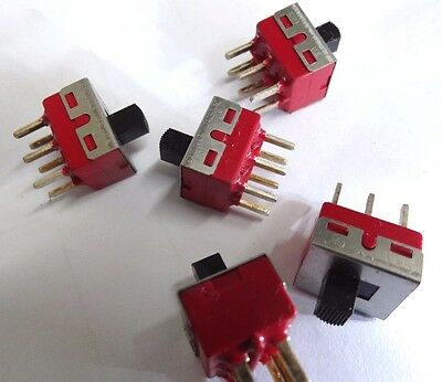 pack of 5 C&K DPDT pcb mount slide switch  1201-M2-C-Q-E-2-2