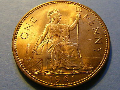 1961 Elizabeth II One Penny Coin  - Much lustre