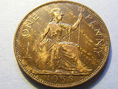 1938 George VI One Penny Coin  - Some lustre