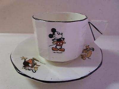 Walt Disney 1930s Mickey/Minnie Mouse Cup/Saucer Faiencerie Onnaing Rare French