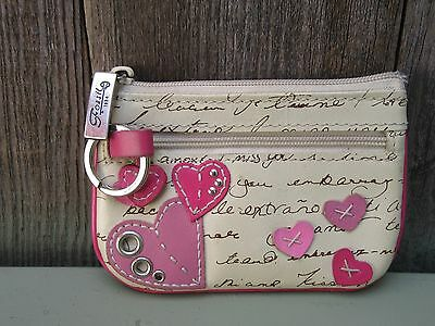 Fossil Mini Wallet Key Chain Id Credit Card Pink Leather Applique Hearts
