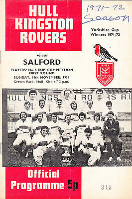 Hull Kingston Rovers v Salford 1971/2 No.6 Competition