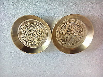 Nice Pair of Indian Embossed Decorated Brass Pin Trinket Dishes