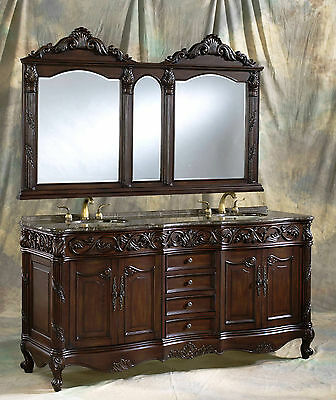 72 Inch Brown Cherry Double Sink Bathroom Vanity Cabinet with Mirror