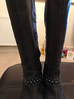 River Island, Ladies Black Leather Boots, UK Size 6