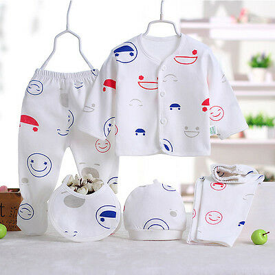 UK 5 Pcs Newborn Baby Clothes Sets 0-3M Boy Girls Sleepwear Outfits Smiling face