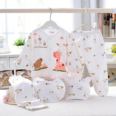 5 Pcs Newborn Baby Clothes Sets 0-3 Month Boy Girls Sleepwear Outfits Pink