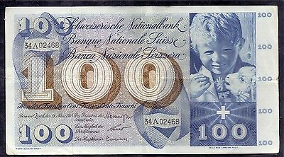 100 Francs From Switzerland 1963