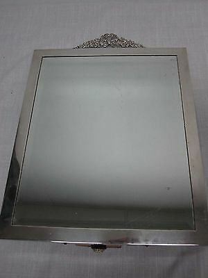 Antique 1900 London Hallmarks Sterling Silver Lg Standing Mirror Bow & Flowers