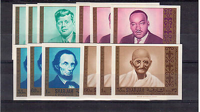 Sharjah Emirates #m465/76 Set 12 Stamps Imperforated Mint Nh, World Peace !!