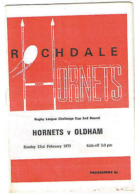 Rochdale Hornets v Oldham 1974/5 Challenge Cup