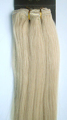 """New 22"""" Remy Human Hair 16Clips In Extensions Straight 105g Platinum Blonde #60"""