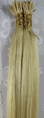 """New 20"""" Human Hair Extensions Stick I-Tip Straight 100S 1g/S Light Blonde #613"""