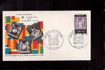 France 1976 First Day Cover # B489, Stamp Day !!