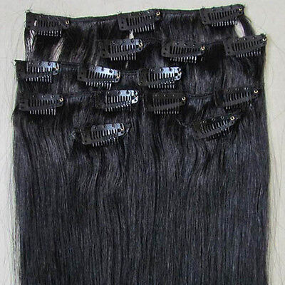 """New 20"""" Human Hair 15Clips In Extensions Straight 75g Black #1B"""