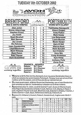 Teamsheet - Brentford Reserves v Portsmouth Reserves 2002/3