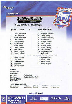 Teamsheet - Ipswich Town Reserves v West Ham Utd Reserves 2005/6