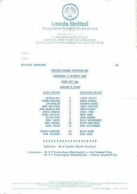 Teamsheet - Leeds United Reserves v Sheffield United Reserves 1990/1