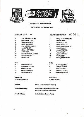 Teamsheet - Lincoln City v Southend United 2004/5 Play-Off Final