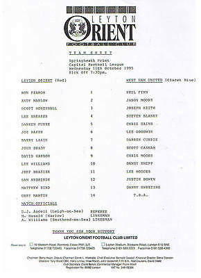Teamsheet - Leyton Orient Reserves v West Ham United Reserves 1995/6
