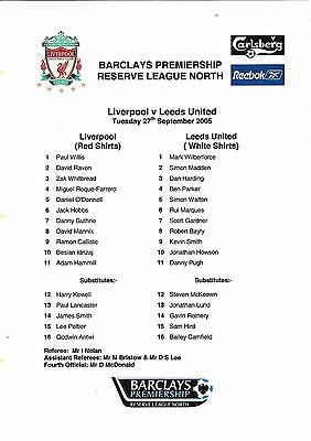 Teamsheet - Liverpool Reserves v Leeds United Reserves 2005/6