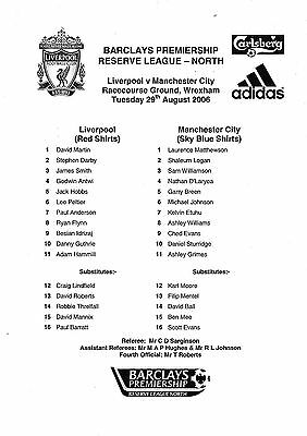 Teamsheet - Liverpool Reserves v Manchester City Reserves 2006/7 @ Wrexham