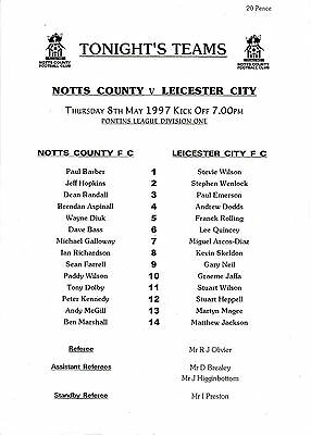 Teamsheet - Notts County Reserves v Leicester City Reserves 1996/7