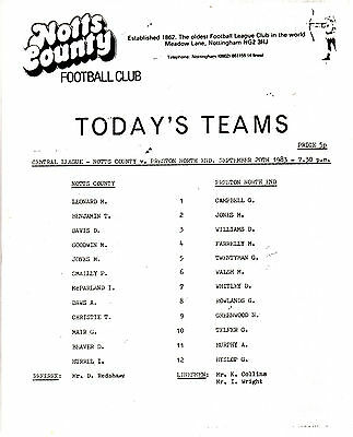 Teamsheet - Notts County Reserves v Preston North End Reserves 1983/4