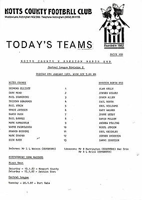 Teamsheet - Notts County Reserves v Preston North End Reserves 1986/7
