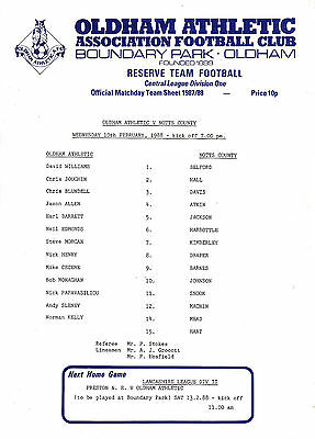 Teamsheet - Oldham Athletic Reserves v Notts County Reserves 1987/8