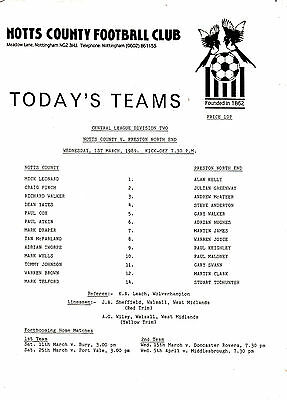 Teamsheet - Notts County Reserves v Preston North End Reserves 1988/9