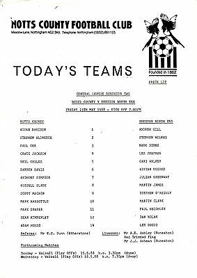 Teamsheet - Notts County Reserves v Preston North End Reserves 1987/8
