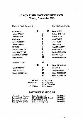 Teamsheet - QPR Reserves v Cheltenham Town Reserves 2002/3