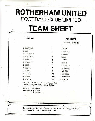 Teamsheet - Rotherham United Reserves v Preston North End Reserves 1985/6