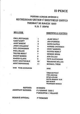 Teamsheet - Rotherham United Reserves v Sheffield United Reserves 1998/9