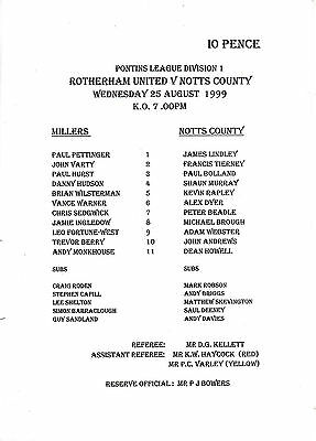 Teamsheet - Rotherham United Reserves v Notts County Reserves 1999/2000