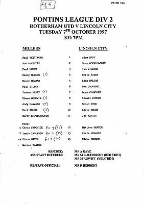 Teamsheet - Rotherham United Reserves v Lincoln City Reserves 1997/8