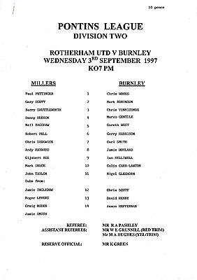 Teamsheet - Rotherham United Reserves v Burnley Reserves 1997/8